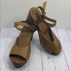 Torrid brown heeled buckle sandals size 11